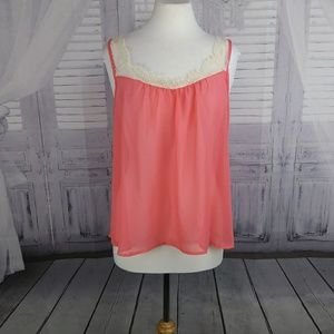 Lily White Pink Sheer Flowy Tank Top. Large. B110